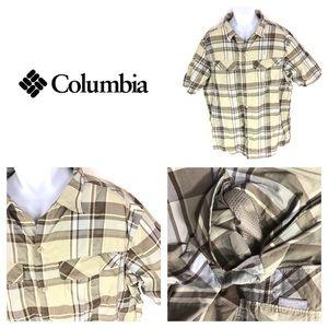 Columbia Vinted Short Sleeve Plaid Shirt Yellow XL
